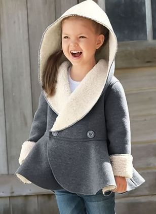 Girls' Casual Color Block Hooded Coats