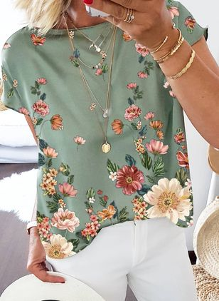 Floral Casual Round Neckline Short Sleeve Blouses (147059580)