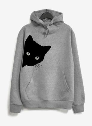 Animal Casual Hooded Sweatshirts