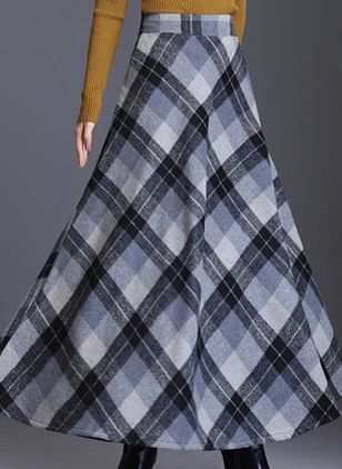 Check Maxi Casual Skirts (146655929)