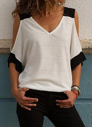 Color Block V-Neckline 3/4 Sleeves Casual T-shirts (1495245)