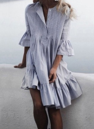 Solid Ruffles 3/4 Sleeves Knee-Length A-line Dress