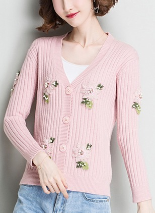 Long Sleeve V-neck Buttons Appliques Sweaters