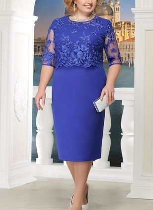 Plus Size Solid Round Neckline Elegant Midi X-line Dress Plus Dress