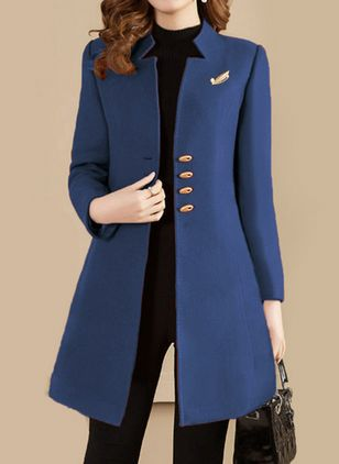 Long Sleeve Stand Collar Buttons Coats (101923906)