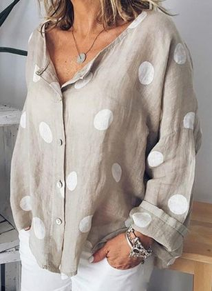 Plus Size Polka Dot Casual Round Neckline Long Sleeve Blouses (1535590)