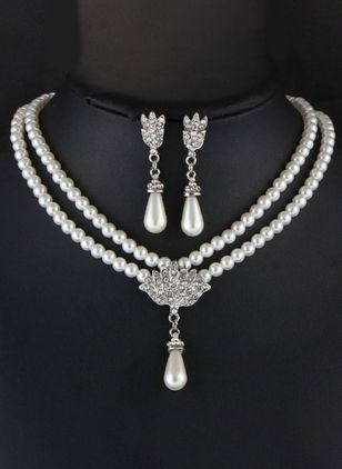 Water Drop Pearls Necklace Earring Jewelry Sets (2201265)