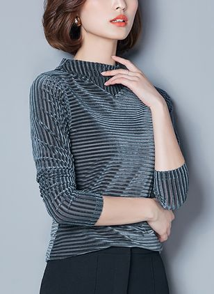 Solid High Neckline Long Sleeve Vintage T-shirts