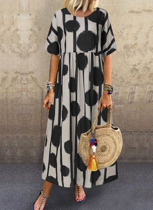 Casual Polka Dot Tunic Round Neckline A-line Dress (1543765)