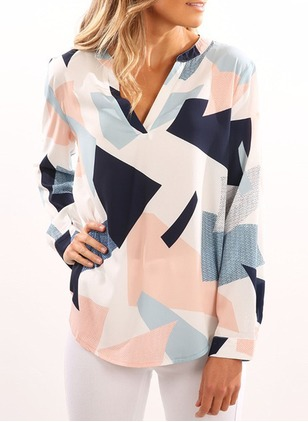 Geometric Casual Cotton V-Neckline Long Sleeve Blouses