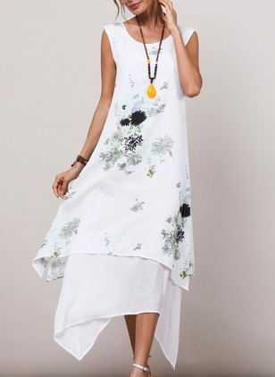 Cotton Linen Floral Sleeveless High Low Dresses