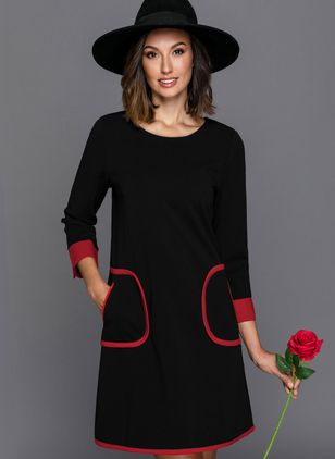 Color Block Pockets Skater Above Knee Shift Dress