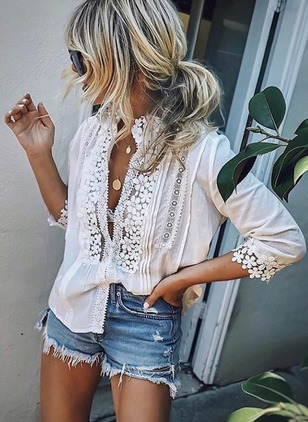 Solid Cotton 3/4 Sleeves Blouses