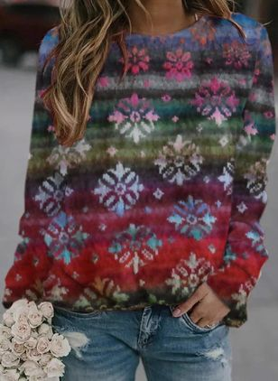 Round Neckline Floral Casual Regular Shift Sweaters (146651205)