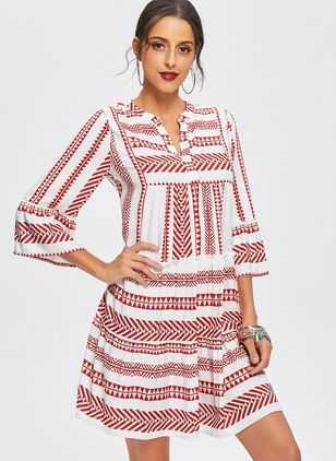 Boho Color Block V-Neckline Above Knee A-line Dress (1213827)