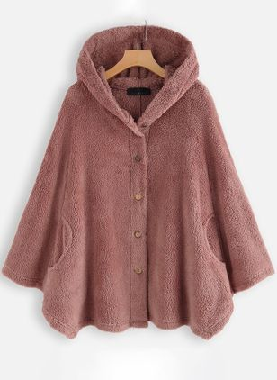 Long Sleeve Hooded Buttons Pockets Fur Coats (112236653)