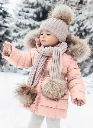 Girls' Sweet Solid Hooded Coats