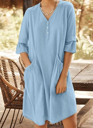 Casual Solid Tunic V-Neckline Shift Dress (4363295)