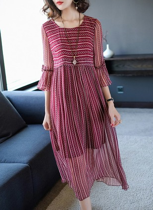 Geometric Bow 3/4 Sleeves Midi Shift Dress