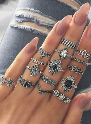 Floral No Stone Rings 15pcs