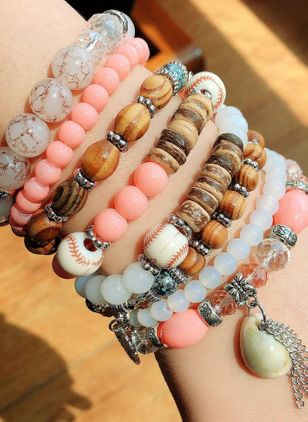 Casual Ball Gemstone Beaded Bracelets (4126982)