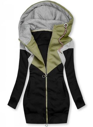 Long Sleeve Collarless Zipper Pockets Jackets (127657071)