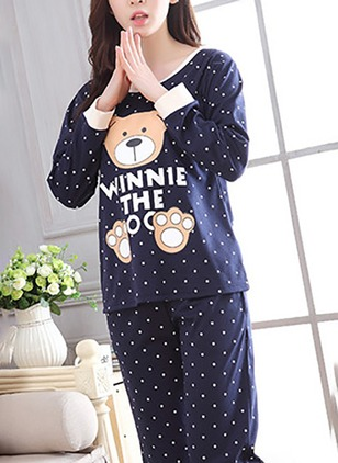 Cotton Round Neckline Polka Dot Pajamas