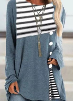 Stripe Casual Round Neckline Long Sleeve Blouses (120284400)