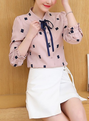 Polka Dot Casual Polyester Collar 3/4 Sleeves Blouses