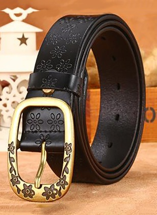 Leatherette Metal Floral Belts