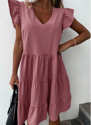 Casual Polka Dot Tunic V-Neckline Shift Dress (4209971)