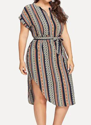 Plus Size Casual Color Block Wrap V-Neckline X-line Dress (4662171)