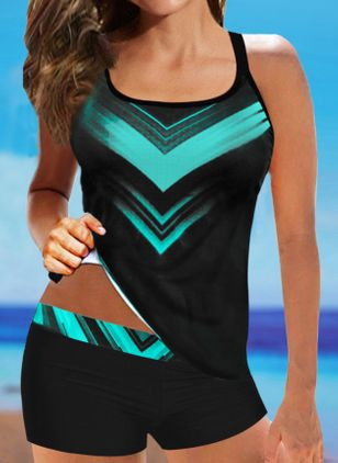 Polyester Color Block Tankinis Swimwear (4073593)