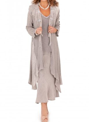 Solid V-Neckline Long Sleeve Maxi A-line Dress