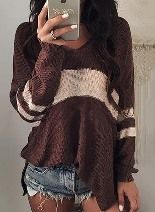 Acrylic V-Neckline Color Block Loose None Sweaters