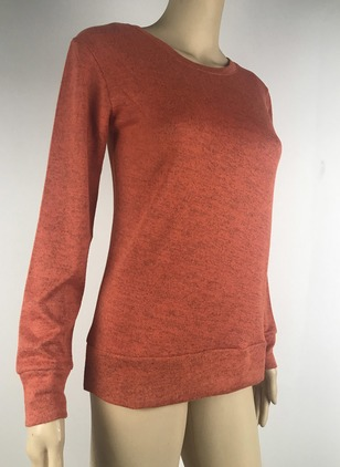 Cotton Round Neckline Solid Loose Sweaters