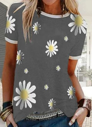 Floral Round Neck Short Sleeve Casual T-shirts (4037752)
