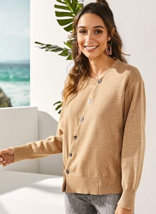 Round Neckline Solid Casual Loose Regular Buttons Sweaters (1288391)