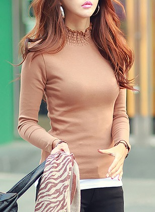 Cotton Solid High Neckline Long Sleeve Casual T-shirts