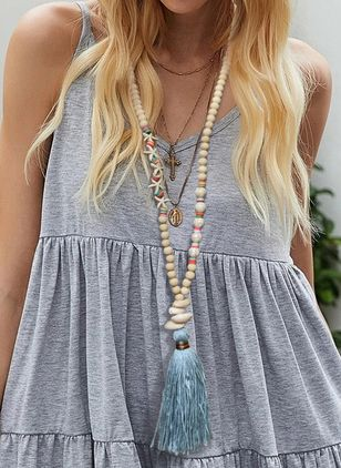 Boho Tassel Ball Gemstone Pendant Necklaces (4049036)