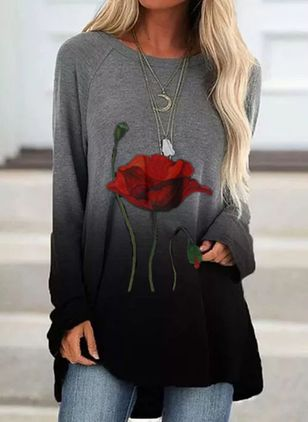 Floral Round Neck Long Sleeve Casual T-shirts (131285726)