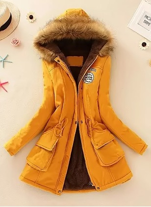 Long Sleeve Hooded Sashes Zipper Pockets Removable Fur Collar Padded Coats
