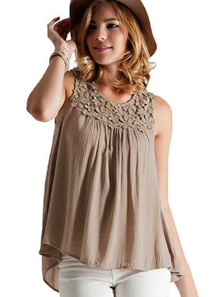 Solid Cotton Camisole Neckline Sleeveless Blouses