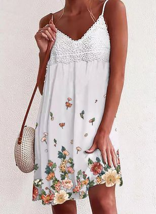 Casual Floral Tunic Camisole Neckline A-line Dress (147204630)