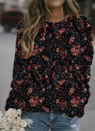 Floral Round Neck Long Sleeve Casual T-shirts (122029768)