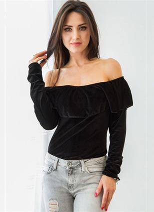 Polyester Solid Boat Neckline Long Sleeve Sexy T-shirts