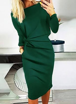 Elegant Solid Pencil Round Neckline Bodycon Dress (128229512)