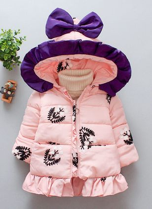 Girls' Cute Floral Hooded Coats