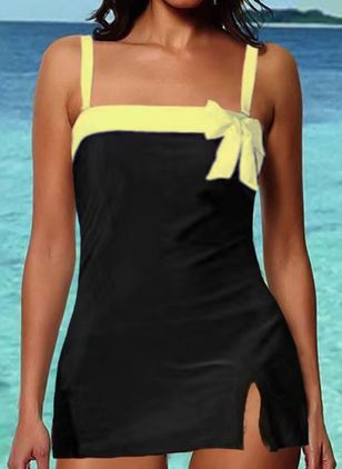 Polyester Color Block Knotted Tankinis Swimwear (147065365)