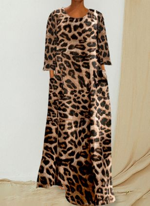 Casual Leopard Tunic Round Neckline Shift Dress (111322166)